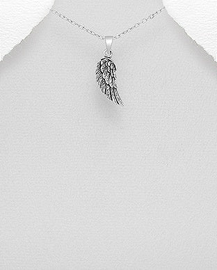 Oxidized Angel Wing Necklace