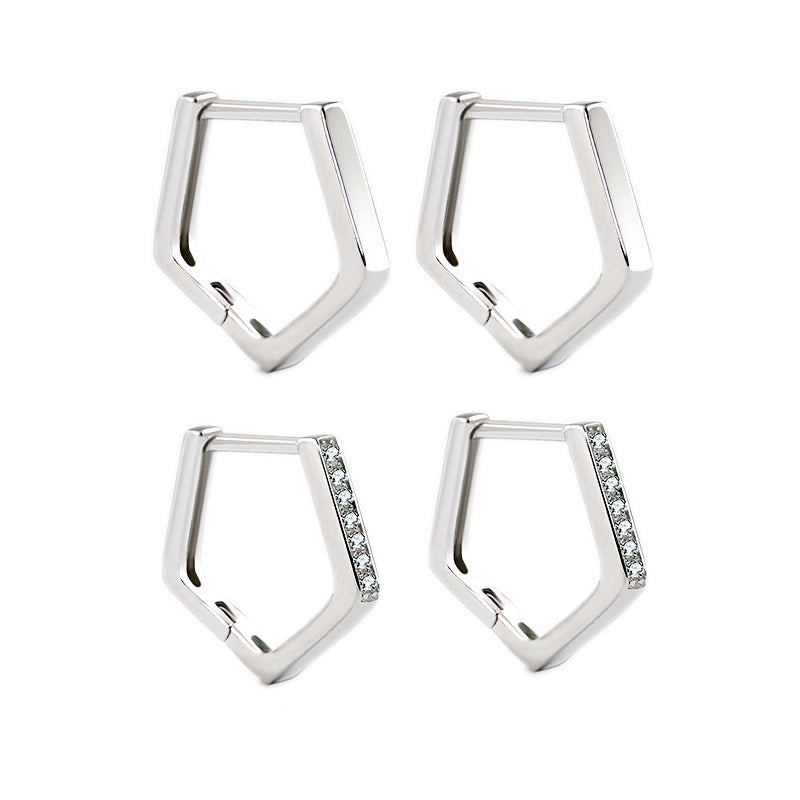 Hexagon Huggie Hoops