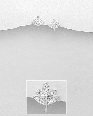 CZ Leaf Earrings