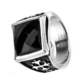 Faceted Black CZ Signet Cross Ring