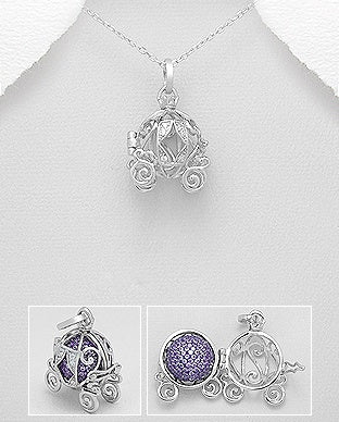 Locket pendants layered charm cz carriage locket necklace aloadofball Gallery