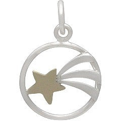Sterling Silver Shooting Star Charm with Bronze