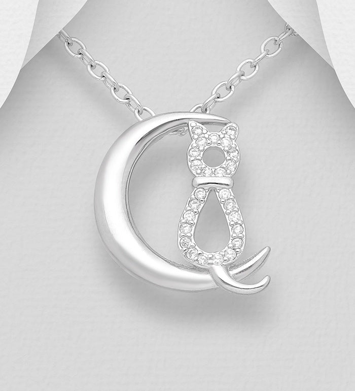 CZ Cat with Moon Necklace