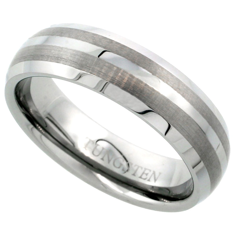 Double Stripe Beveled Edge Tungsten Ring