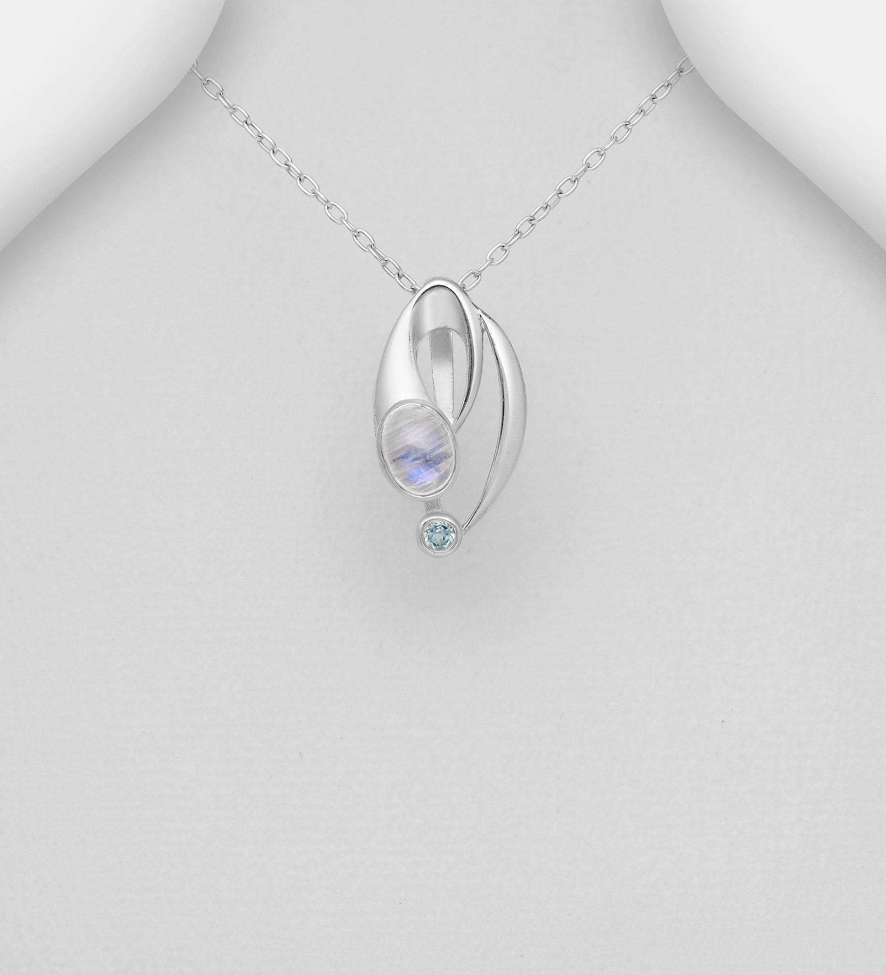 Modern Topaz & Moonstone Necklace