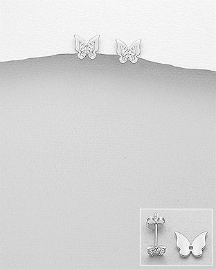CZ Butterfly Removable Wing Post Earrings