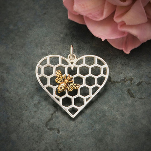 Bee on Heart Honeycomb Necklace