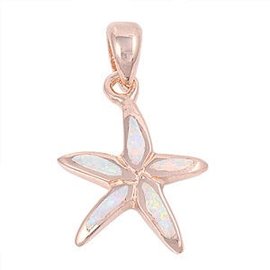 Rose Gold Opal Starfish Necklace