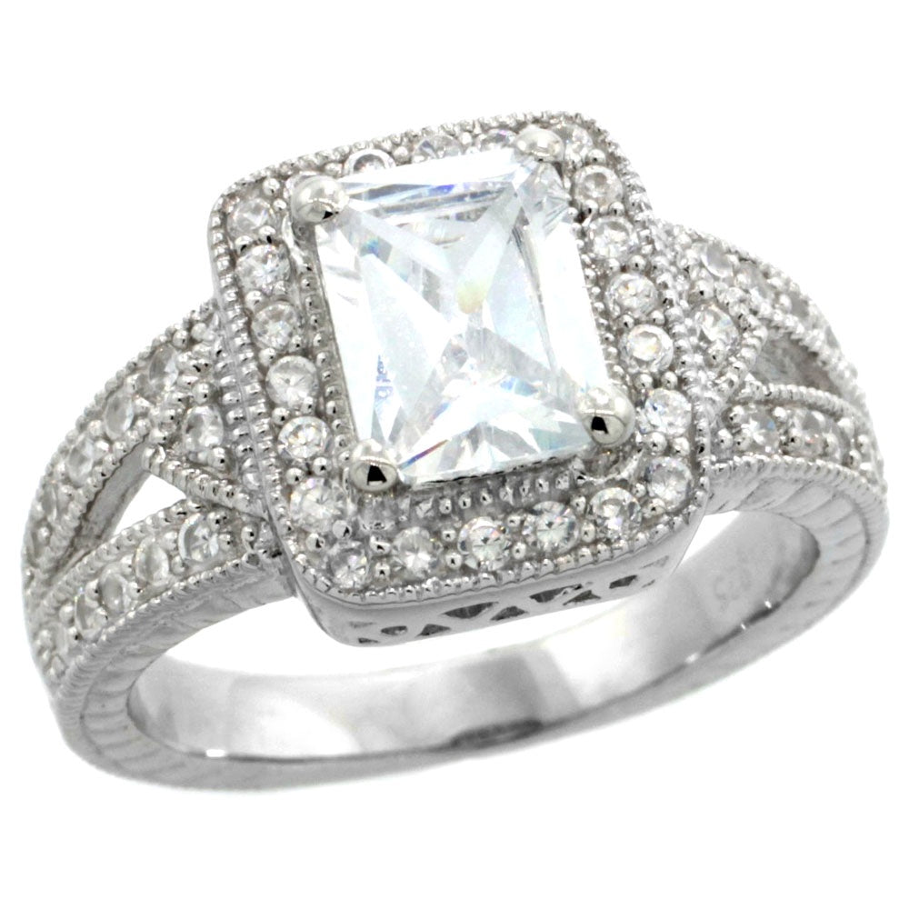 Emerald Cut CZ Solitaire Ring
