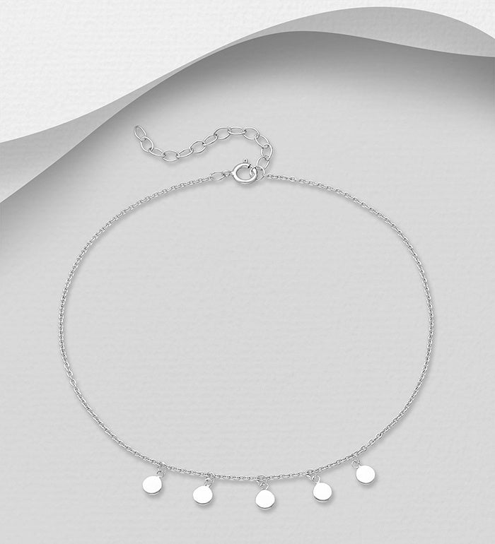 Circle Drops Rhodium Plated Anklet