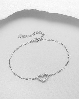 CZ Outline Heart Chain Bracelet