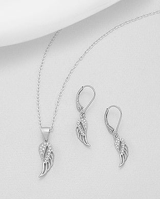 CZ Wing Necklace and Earring Set