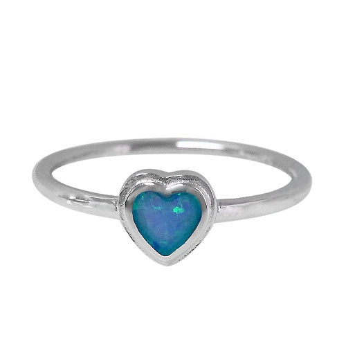 Rhodium Opal Heart Ring