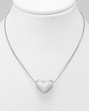 Rhodium Plated Puff Heart Necklace