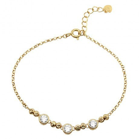 Gold Plated Beaded 3 Stones Link Bracelet
