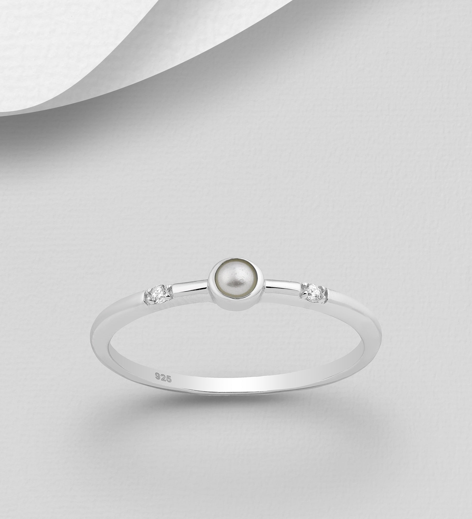 CZ Pearl Thin Ring