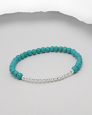 Turquoise with Sterling Silver Bead Accent