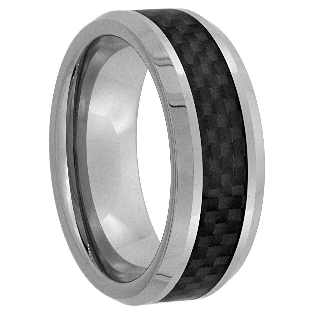 Black Carbon Fiber Tungsten Ring