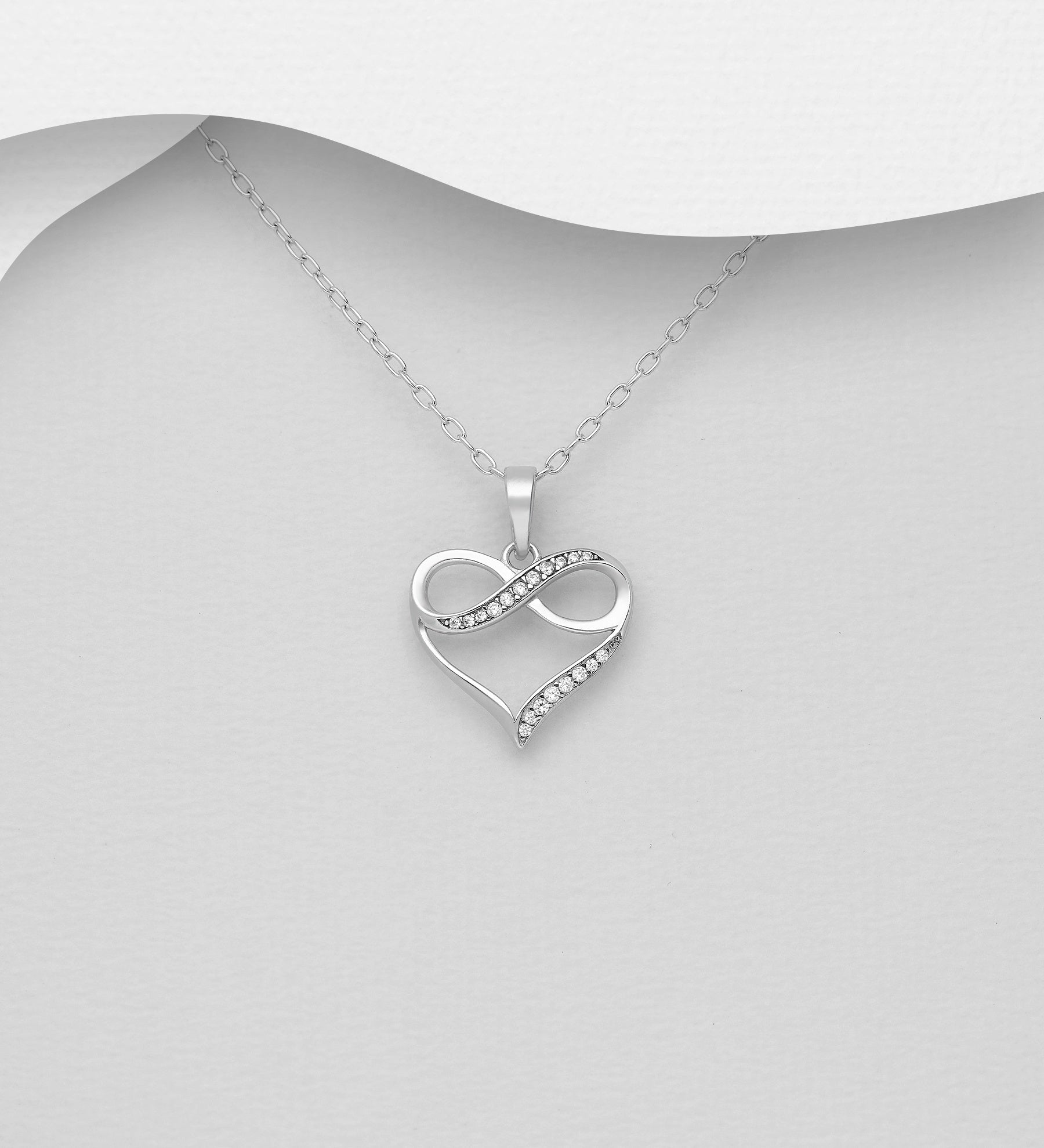 CZ Infinity on Heart Necklace