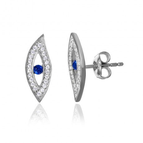 Evil Eye CZ Earrings With Blue Center Stone