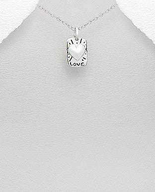 Sterling Silver Heart and Love Charm - Layered Charm