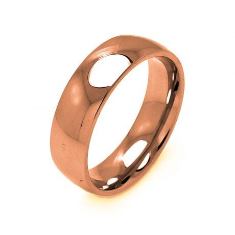 Stainless Steel Rose Gold Color Ring 7mm