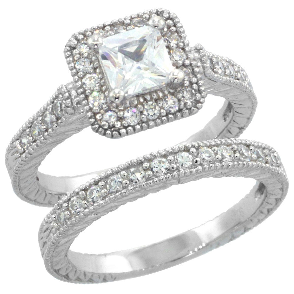 Square Halo Engagement Ring Set