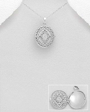 CZ Oval Locket Necklace