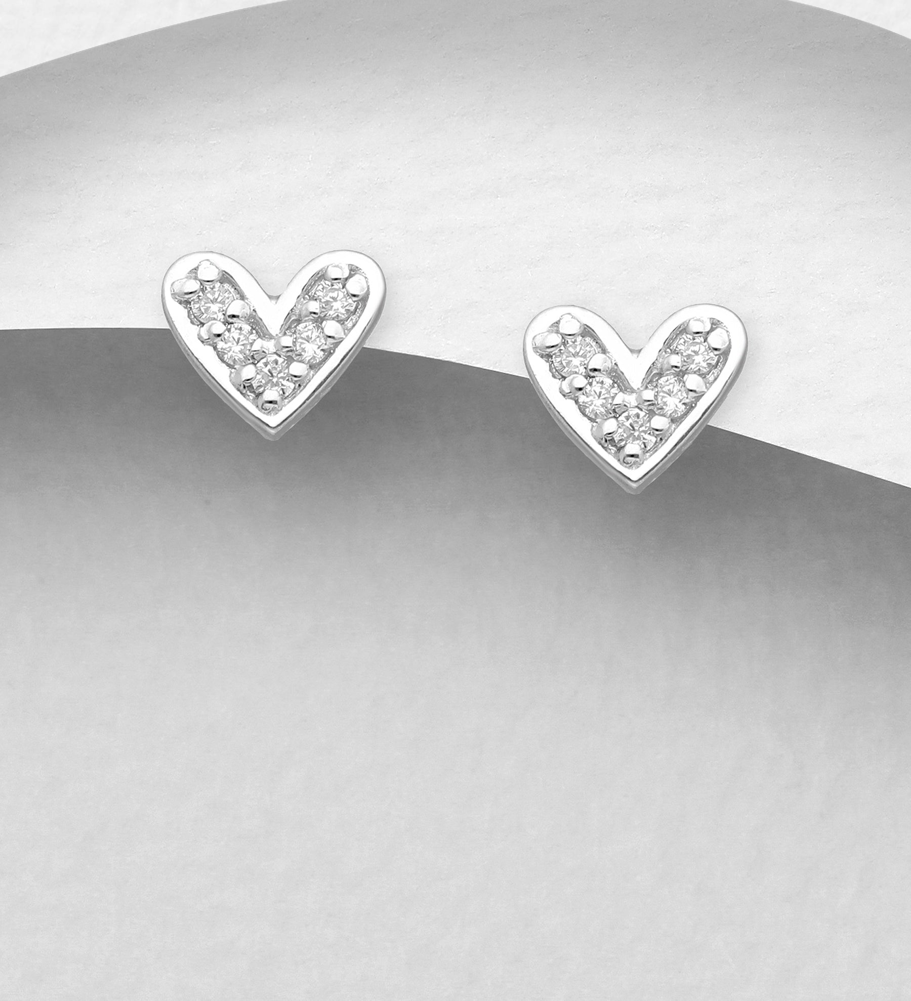 Wide CZ Heart Earrings