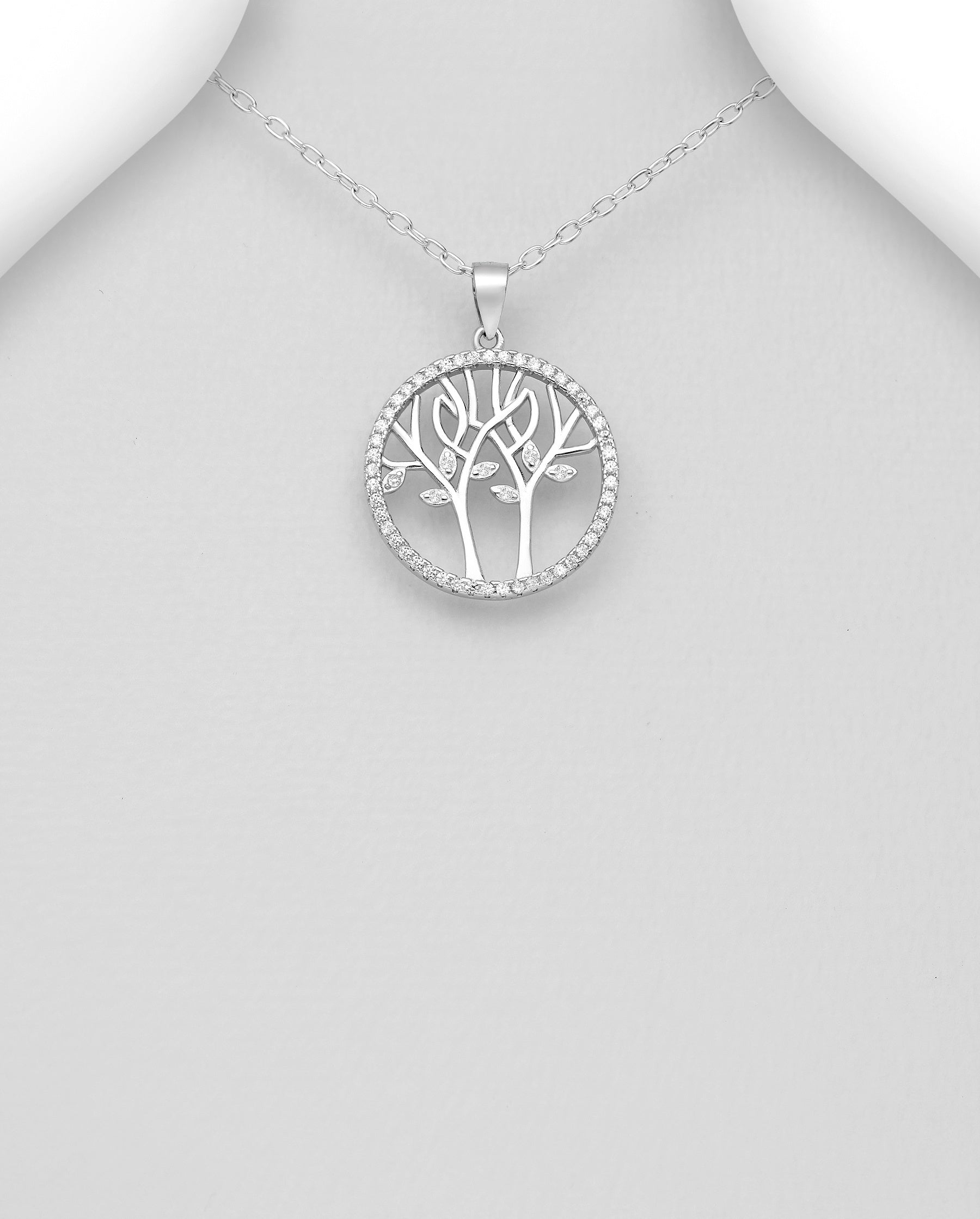 CZ Linked Tree of Life Necklace