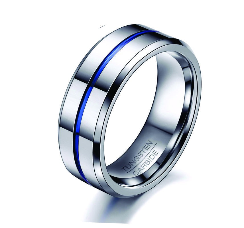 Tungsten with Blue inlay Ring