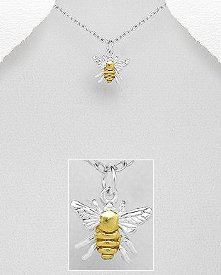 Two Tone Bee Necklace