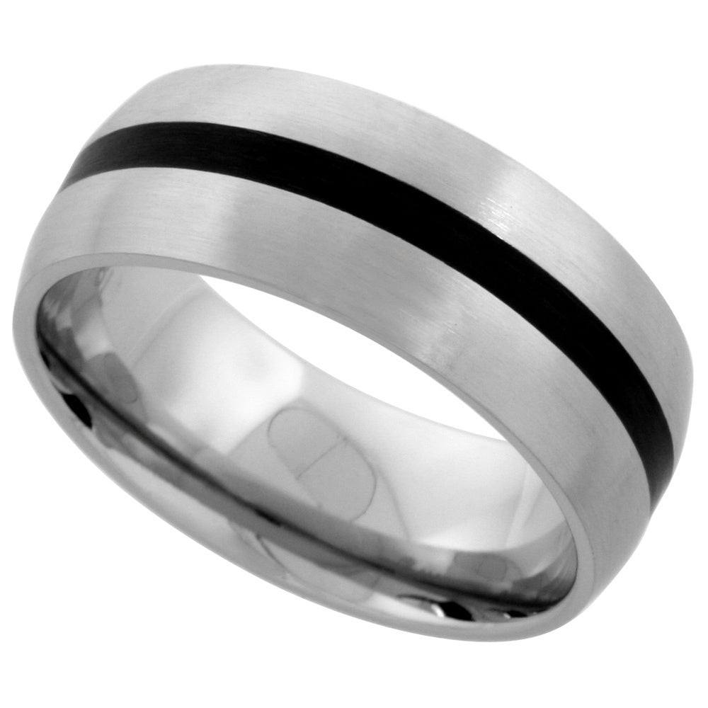 Stainless Steel Dome with Black inlay Ring 8mm