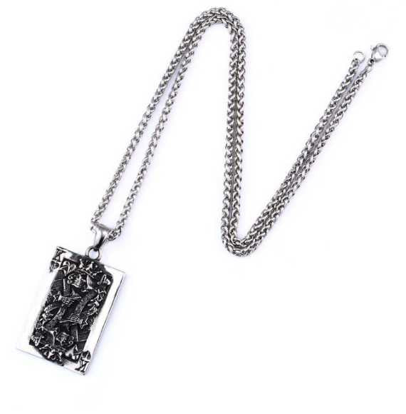 Skull King Card Necklace