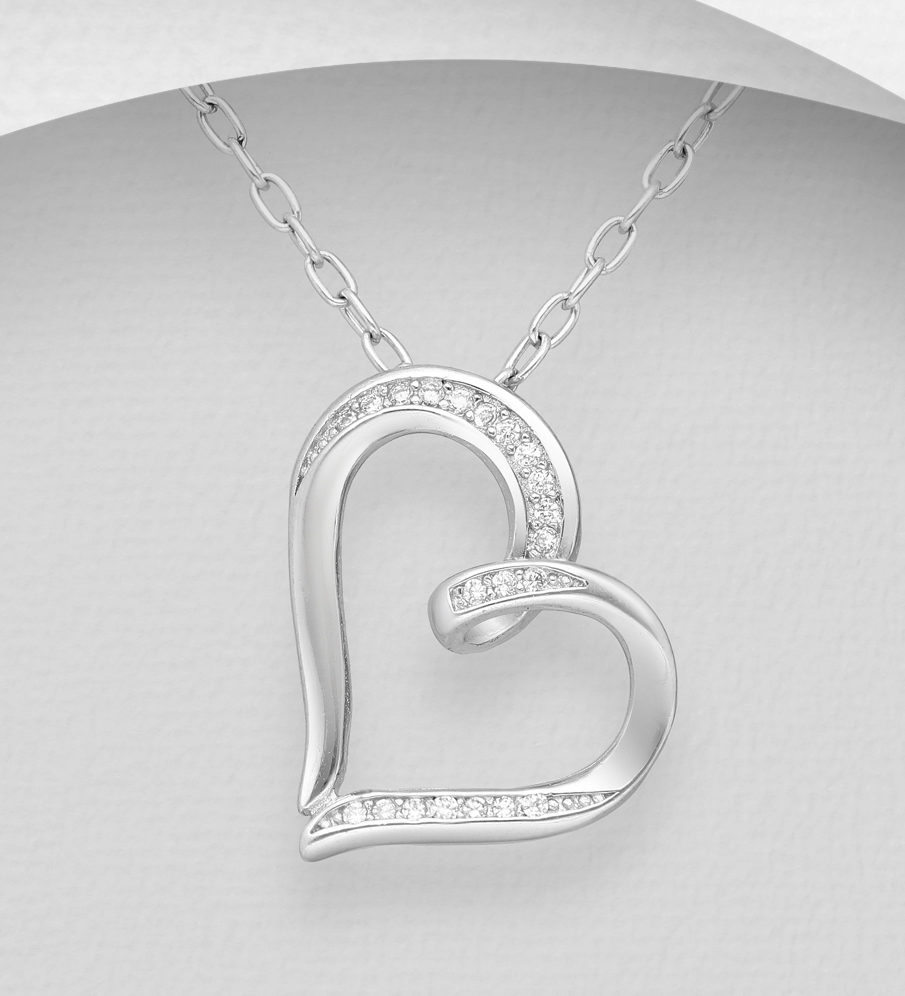 CZ Embedded Heart Slider Necklace