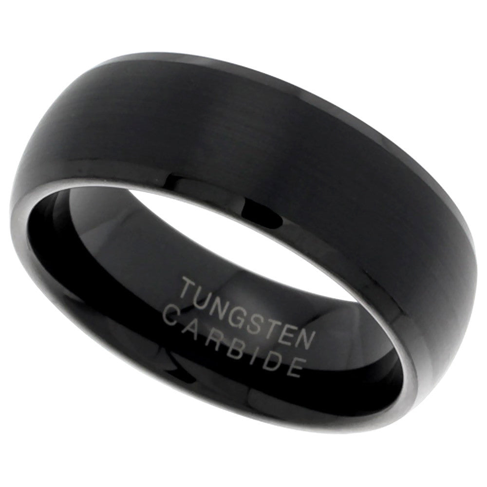 Black TungstenBrushed Dome Ring