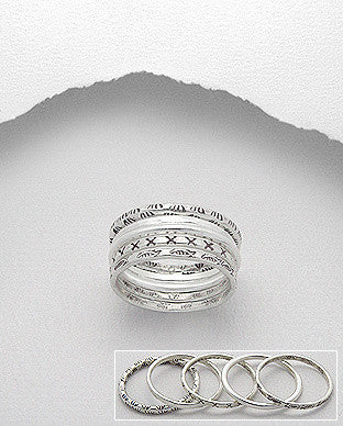 Abstract Stack of Sterling Silver Rings
