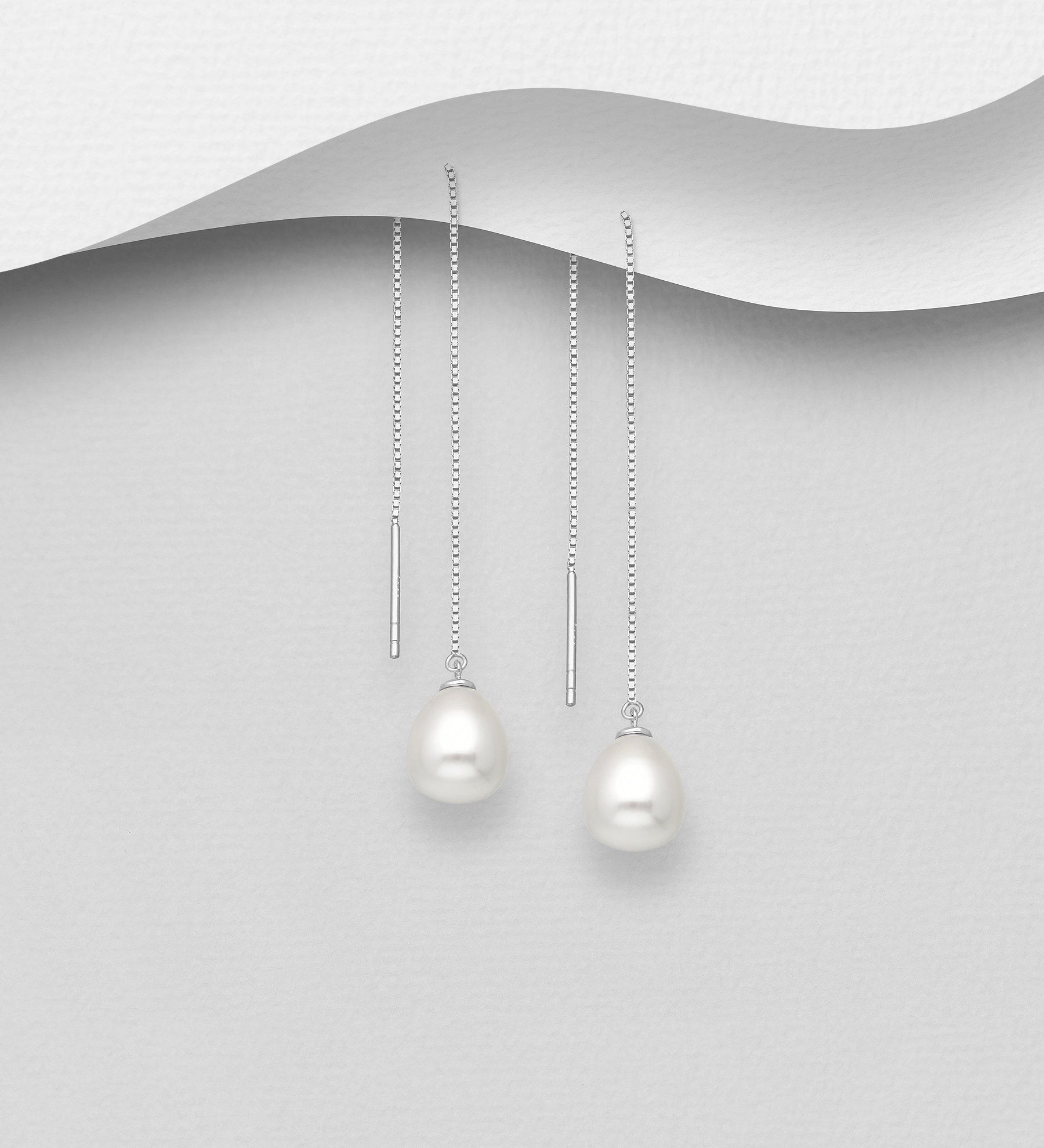 Pearl Drop Threader Earrings