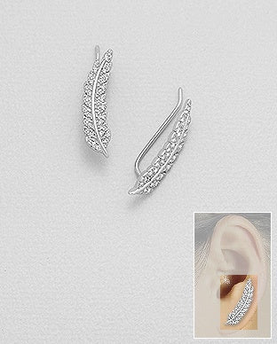 CZ Feather Ear Climbers