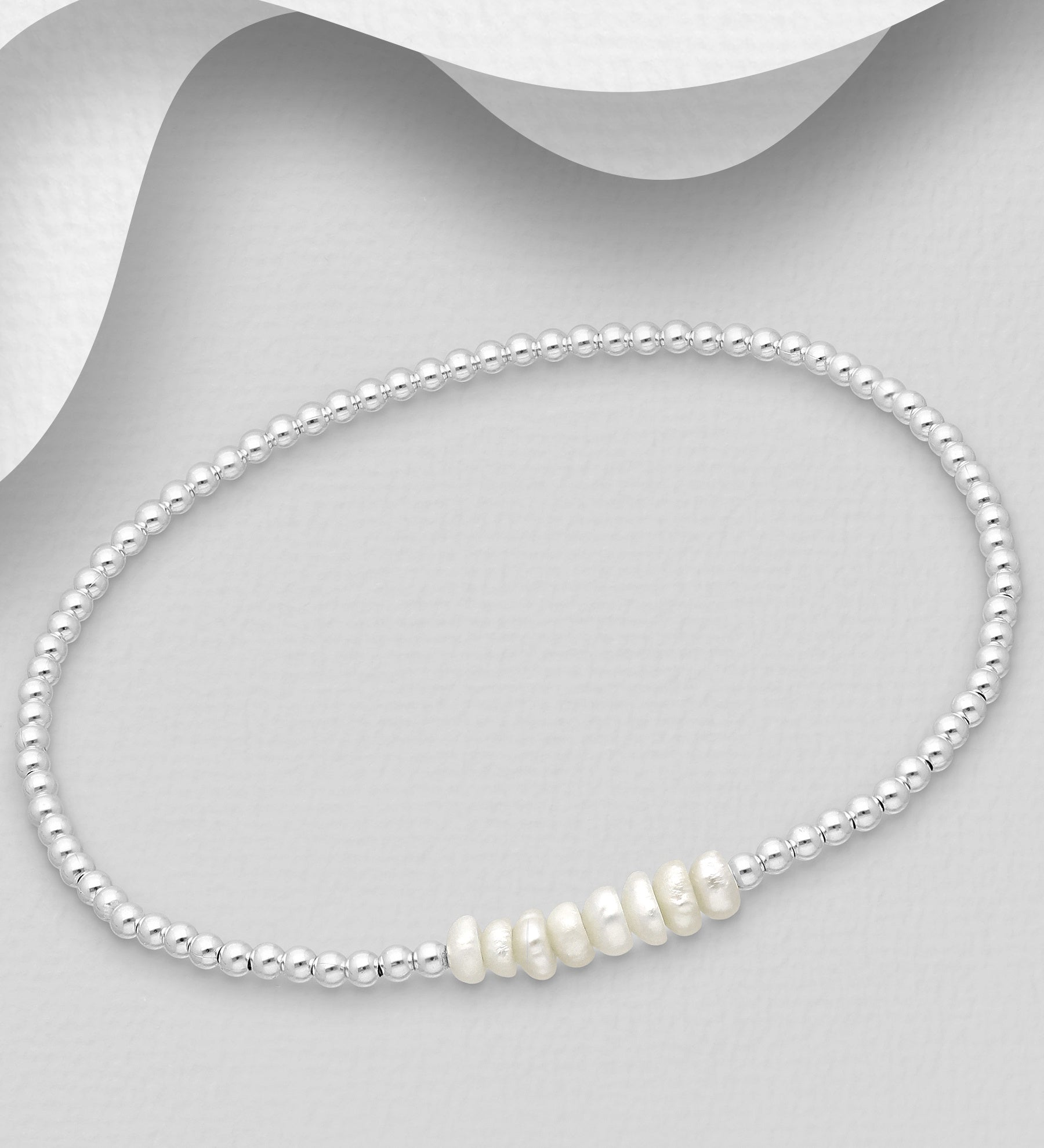 Silver Stretch Bracelet with Pearls