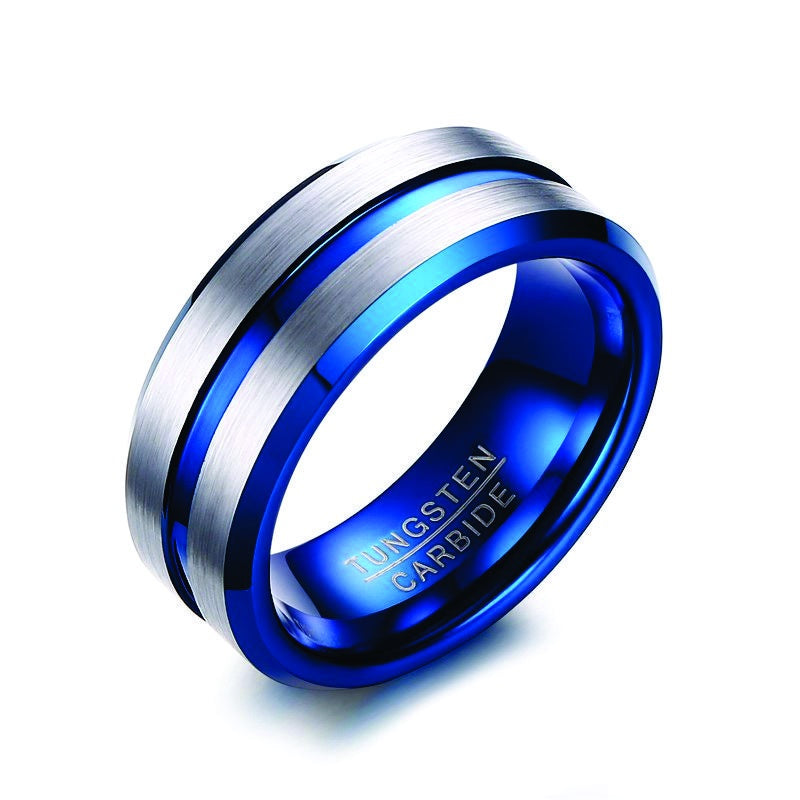Tungsten with Blue and Center Groove Ring