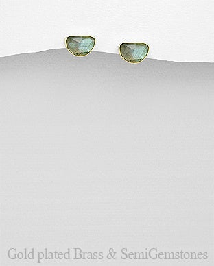 18K Gold Plated Faceted Half Circle Labradorite Earrings