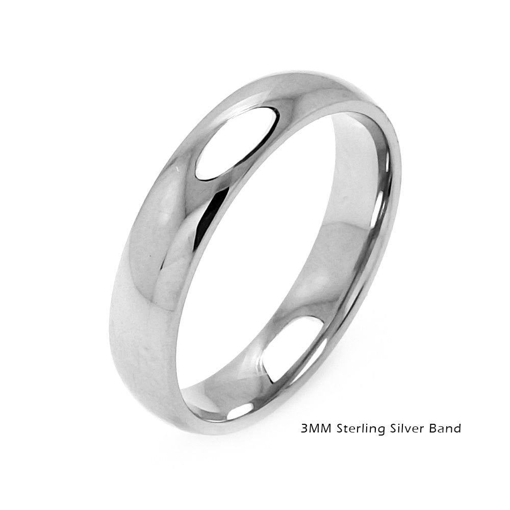 Sterling Silver Plain Wedding Rings