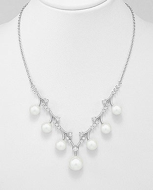 Pearl Branched CZ Necklace