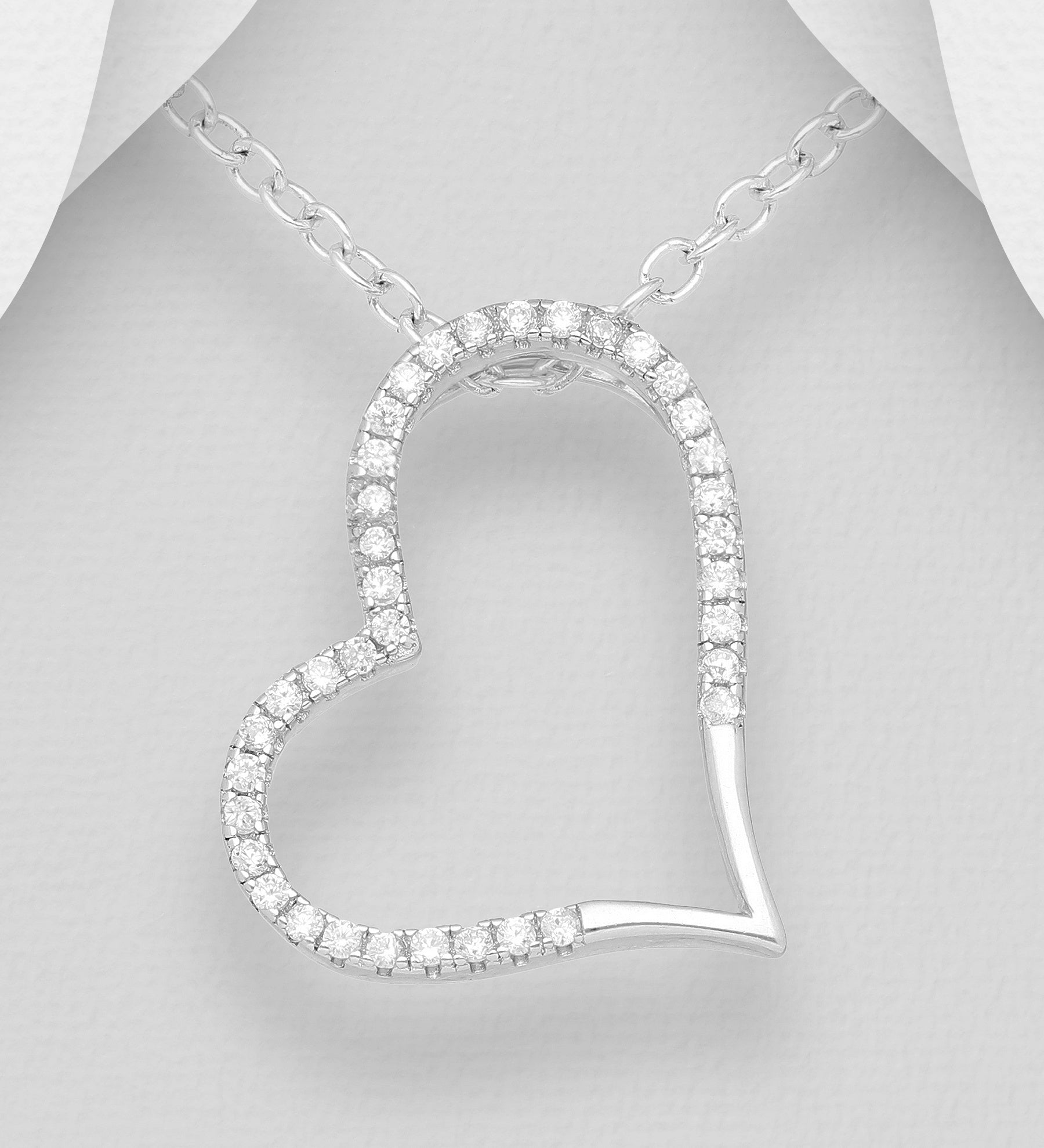 Outline CZ Heart Slider Necklace