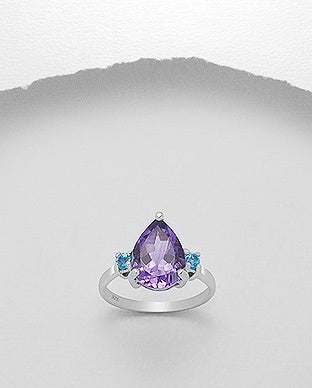 Teardrop Amethyst and Topaz Ring