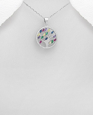 Color CZ Tree of Life Necklace