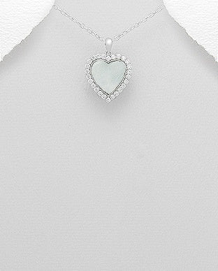CZ Halo Heart Mother of Pearl Necklace