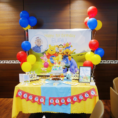 White Spatula Winnie the Pooh Dessert Table Singapore. Winnie the Pooh Themed Birthday Ideas & Party Supplies.