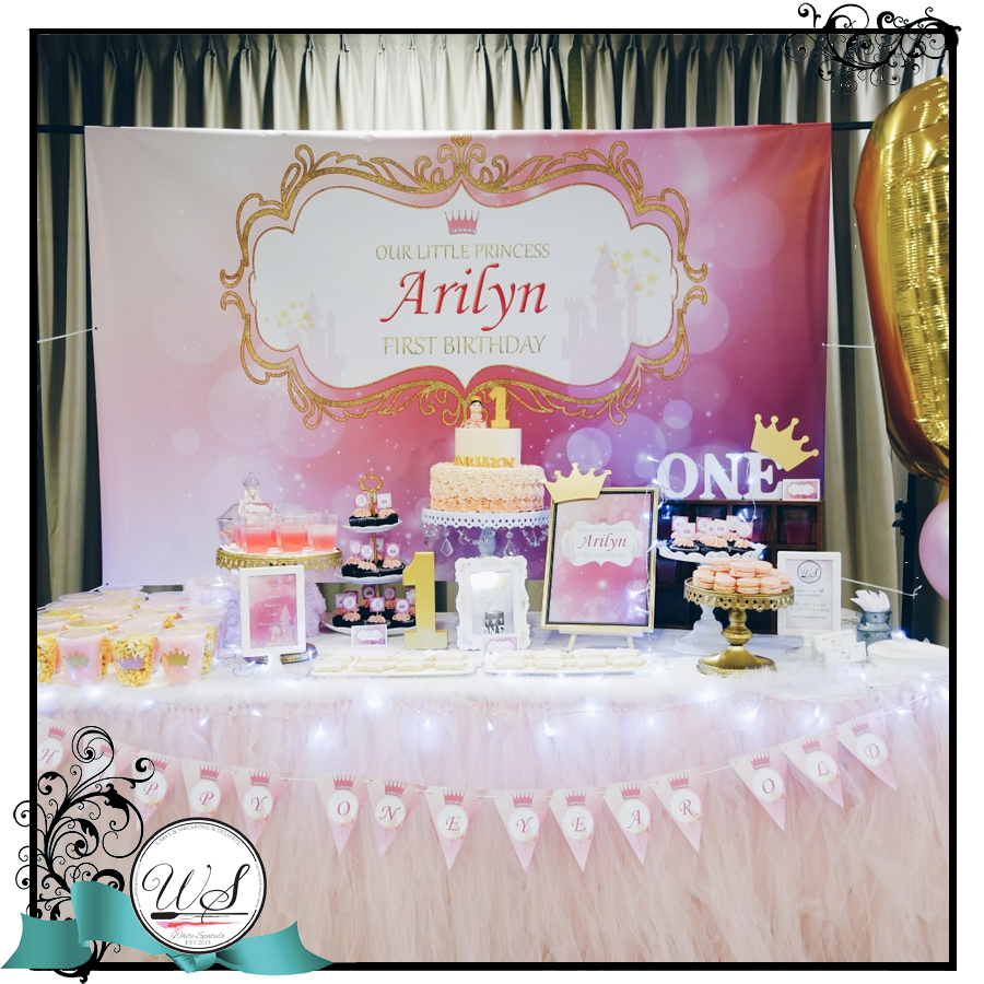 First birthday dessert table full month dessert table baby for Baby shower decoration singapore